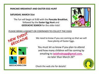 Poster for Pancake Breakfast and Easter Egg Hunt
