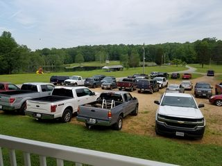 The parking lot was filled